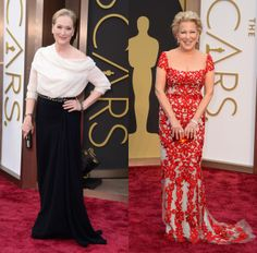 Dynamite Divas - Oscars 2014 - Meryl Streep in Lanvin and Bette Midler in Reem Acra