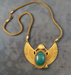Cool Vintage Miriam HASKELL Egyptian Motif Necklace ca: 1950s-60s