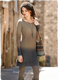 An ombré of rich hues from pale malt to warm chestnut to cement grey. Our easy t-shirt dress is styled with a wide rounded neckline, raw-edg...