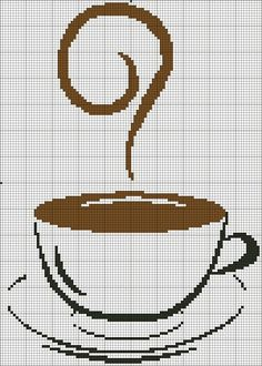 cross stitch coffee cup, would be so cute on kitchen towels