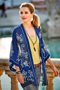 Embroidered Kimono Cover Up