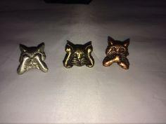 VTG. JJ JONETTE PEWTER/ROSE GOLD TONE SEE, HEAR, SPEAK NO EVIL KITTY CAT PINS~    eBay