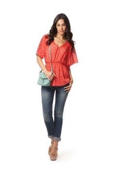 Look 9: Smock-Waist V-Neck Top in Red Floral Print, $22.99 (Available 2/5/12–4/15/12) Core Skinny Denim Jeans in Medium Wash, $27.99 (Available 2/5/12–TBD)