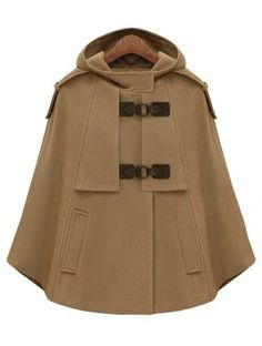 Camel Hooded Buckle Strap Pockets Cape Coat