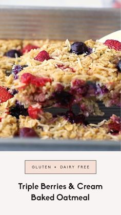 Colorful & healthy triple berries and cream baked oats made with strawberries, blueberries & raspberries and naturally sweetened with maple syrup. This easy, gluten free & dairy free berry baked oatmeal recipe packs healthy fats from creamy coconut milk and is the perfect way to use ripe summer berries. This is a great Memorial Day or 4th of July brunch dish!