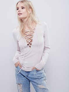 Free People Lucky Lace Up Top at Free People Clothing Boutique