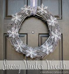 Snowy wreath will last beyond Christmas into February - so cute!