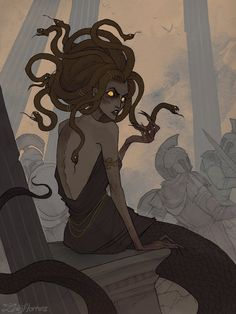 Medusa by IrenHorrors - Your Daily Dose of Amazing beautiful Creativity and Digital Art - Fantasy Characters: Archers Assassins Astronauts Boners Knights Lovers Mythology Nobles Scholars Soldiers Warriors Witches Wizards Medusa Art, Medusa Gorgon, Fantasy Creatures, Mythical Creatures, Character Inspiration, Character Art, Greek Mythology Art, Wie Zeichnet Man Manga, Eros And Psyche