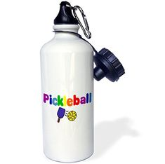 3dRose wb_200134_1 Colorful Pickle ball Letters And Paddles Sports Water Bottle, 21Oz, Multicolored #dRose #wb__ #Colorful #Pickle #ball #Letters #Paddles #Sports #Water #Bottle, #Multicolored