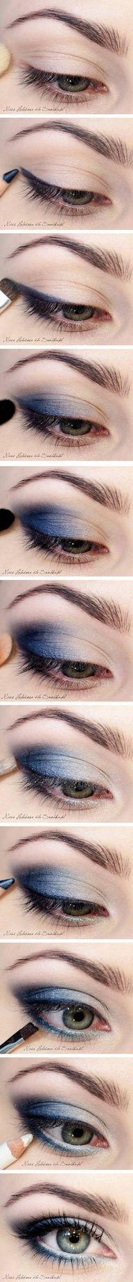 Blue Smokey Eye Make-up Beauty Make-up, Beauty Secrets, Beauty Hacks, Hair Beauty, Blue Smokey Eye, Smokey Eyes, Kiss Makeup, Eye Makeup, Hair Makeup