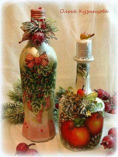 "Photo from album ""Ручная работа on Yandex. Recycled Glass Bottles, Glass Bottle Crafts, Wine Bottle Art, Christmas Decoupage, Christmas Crafts, Christmas Decorations, Pot Mason, Christmas Wine Bottles, Jar Art"