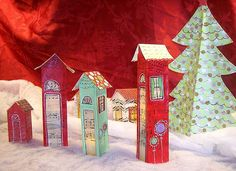 make a holiday village for your mantle