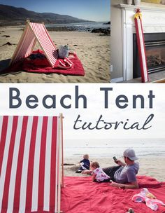 Beach Tent Tutorial - Make your day at the beach more comfortable with this simple and easy A-frame Beach Tent. It's perfect for keeping little ones out of the sun and keeping your spot on the beach easy to… well, spot! It takes less than an hour to make, is extremely portable and very cute. http://www.goadventuremom.com/2014/06/beach-tent-tutorial/