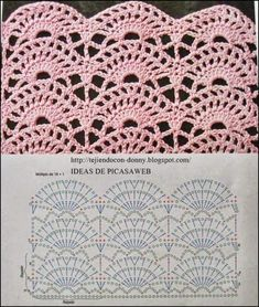 Pattern stitch for s Crochet Edging, Would be Great for shirt tails. This Pin was discovered by Mar 3 Crochet Stitches w/ diagrams. It is a website for handmade creations,with free patterns for croshet and knitting , in many techniques Crochet Diagram, Crochet Chart, Crochet Motif, Crochet Designs, Crochet Lace, Crochet Hooks, Free Crochet, Crochet Patterns, Patron Crochet