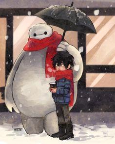 Hiro Hamada and Baymax in the snow