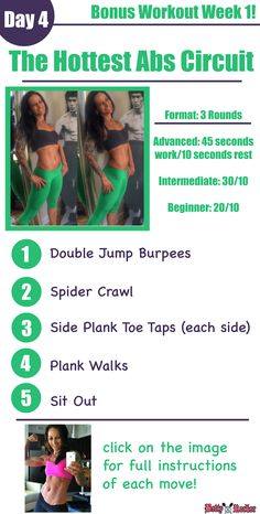 Try this HOT ABS CIRCUIT today as a BONUS for your Challenge Workouts! Click the Image to watch the Video Demo, and REPIN if YOU ARE IN!