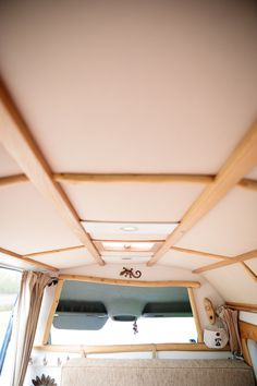 Blubelle's genius canvas ceiling is lightweight, insulative and so very beautiful.