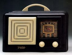 Vintage Black and White Art Deco Style Radio