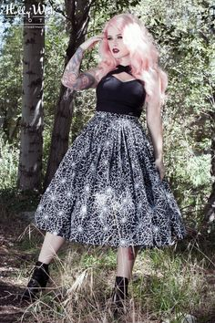 Vintage Goth Pinup Capsule Collection - The Jenny Skirt in Spiderweb Print
