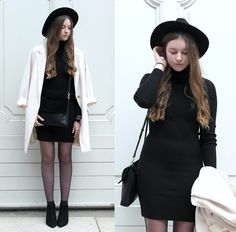Get this look: http://lb.nu/look/7778782  More looks by Astrid H: http://lb.nu/astrid_h  Items in this look:  H&M Hat, Forever 21 Blazer, Zara Bag, Zara Dress, Zara Boots