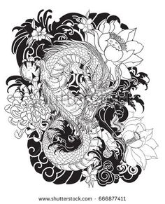 hand drawn black and white Dragon tattoo ,coloring book japanese style