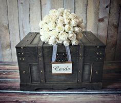 Trunk-large-XL-vintage inspired-shabby chic-wedding-card holder-rustic-wood-card box-suitcase-wood trunk-wishes-advice-wedding card-bride Wedding Card Suitcase, Suitcase Decor, Rustic Card Box Wedding, Wedding Boxes, Chic Wedding, Wedding Cards, Trendy Wedding, Wedding Ideas, Wedding Signage