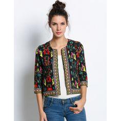 Black New Women Print Jacket Coat | cndirect.com