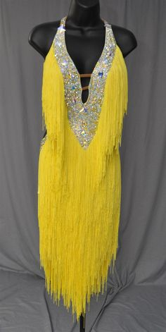 yellow fringe dress | Sexy Yellow Fringe Latin Dress