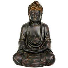 Oriental Furniture 9'' Japanese Sitting Buddha Statue in Faux Bronze Antique Patina