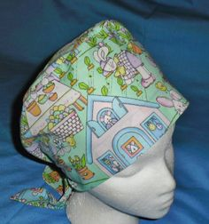 EASTER Medical Surgical Scrubs Pixie Tie Back Hats Scrub Cap Hat BUSY BUNNY RABBITS Stylish Scrubs, Bunny Rabbits, Scrub Hats, Tie Backs, Caps Hats, Pixie, Medical, Easter, Holiday