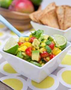 Mango Avocado Salsa - I love avocado and this looks so good...will definitely be trying this!  I also like the idea of making your own tortilla chips by baking tortillas...great idea!
