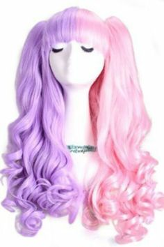50-60cm Pink&purple Long Lolita Clip on Ponytails Wavy Cosplay Hair Wig