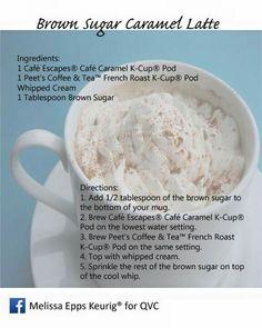 Brown Sugar Caramel Latte Keurig Recipes, R Cafe, Caramel Latte, Recipe Cards, Whipped Cream, Brown Sugar, Brewing, Roast, Mugs