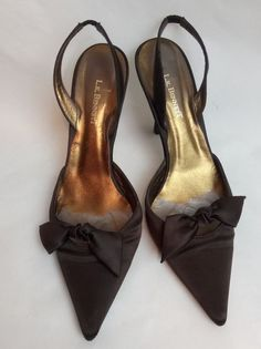 LK Bennett, Brown Satin Sling Back Shoes With Bow, Size 39