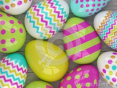 Colorful Easter eggs with patterns and greetings