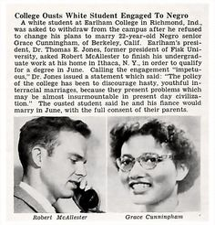 Earlham College Ousts White Student Robert McAllester Engaged to Negro Grace Cunningham - Jet Magazine, May 1952 (jet Interracial Marriage, Interracial Couples, Biracial Couples, Black Art, Jet Magazine, Black History Facts, Strange History, African Diaspora, Former President