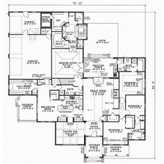 European Style House Plans - 3354 Square Foot Home , 1 Story, 4 Bedroom and 4 Bath, 3 Garage Stalls by Monster House Plans - Plan 12-409