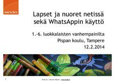 Lapset ja nuoret netissä sekä WhatsAppin käyttö