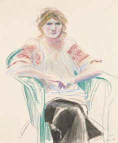 transistoradio:  David Hockney (b.1937), Celia (1972), graphite, charcoal, and coloured pencil on paper, 35.5 x 43 cm. Via RA.