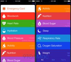Apple Healthbook --- dear motherfucking god no!!! I *HATE* Passbook's design & Reminders' design, there are a million personal finance apps and fitness apps out there with beautiful data visualizations and less skeumorphic design influences that an Apple Health app should be modeled after...