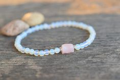 Cord Bracelets, Crystal Bracelets, Stretch Bracelets, Pink Opal, Summer Jewelry, Rose Quartz, Gifts For Friends, Gifts For Women, Stretches