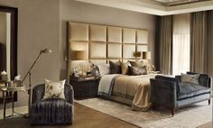 Bedroom / Salperton bedside lamps by Porta Romana / Golden and Grey decoration