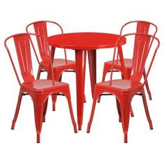 Flash Furniture 30 In. Round Metal Indoor-Outdoor Table Set with 4 Splat Back Chairs - CH-51090TH-4-18CAFE-RED-GG