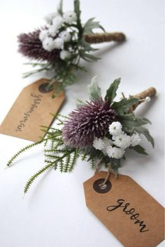 A lovely artificial buttonhole with purple thistle, Gypsophila and ferns. Finished with rustic string. Thistle Wedding, Fern Wedding, Wedding Cake Fresh Flowers, Wedding Pins, Wedding Groom, Purple Wedding, Floral Wedding, Wedding Bouquets, Wedding Jewelry