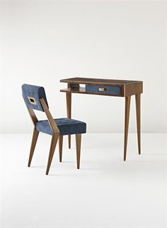 GIO PONTI Extremely rare desk and chair, 1950s  Desk: walnut-veneered wood, walnut, glass, suede, brass; chair: walnut, suede. Desk: 75 x 80 x 42.5 cm. (29 1/2 x 31 1/2 x 16 3/4 in.); chair: 80 cm. (31 1/2 in.) high Produced by Fratelli Marelli, Italy