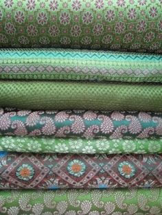 A Stack of Sari Fabrics in Shades of Green . Textile Fabrics, Textile Patterns, Textile Design, Fabric Design, Print Patterns, Pattern Design, Sari Fabric, Felt Fabric, Jade