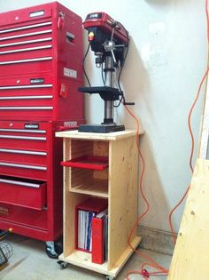 Rolling Drill Press Stand/Cabinet - love the idea of sliding trays for drill bits? Garage Organization Tips, Garage Tool Storage, Workshop Storage, Workshop Organization, Home Workshop, Garage Tools, Garage Workshop, Workshop Ideas, Lumber Storage