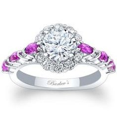 Barkev's 14K White Gold Pink Sapphire Channel Set Diamond Engagement Ring Featuring 0.59 Carats Pink Sapphires and 0.24 Carats Round Cut Diamonds Style 7944LPS