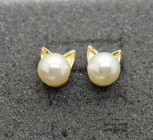E068 Бесплатная доставка Симпатичные Перл Cat Глава Шпильки Серьги оптовая HY(China (Mainland))