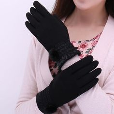 Winter Spring Gloves Solid Lace Cotton Gloves For Women Wrist Touching Screen Mittens Gloves Female Women's Gloves Elegant Gloves, Cotton Gloves, Women's Gloves, Gloves Fashion, Dress Fashion, Style Fashion, Special Occasion Hairstyles, Driving Gloves, Outdoor Woman